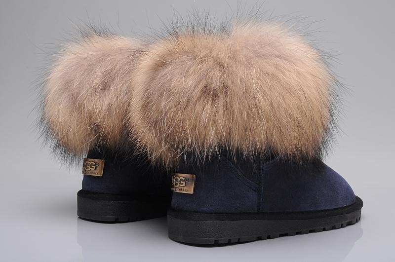Ugg fox fur mini boots 5854 navy uggyi00000034 navy ca for Ugg fourrure exterieur