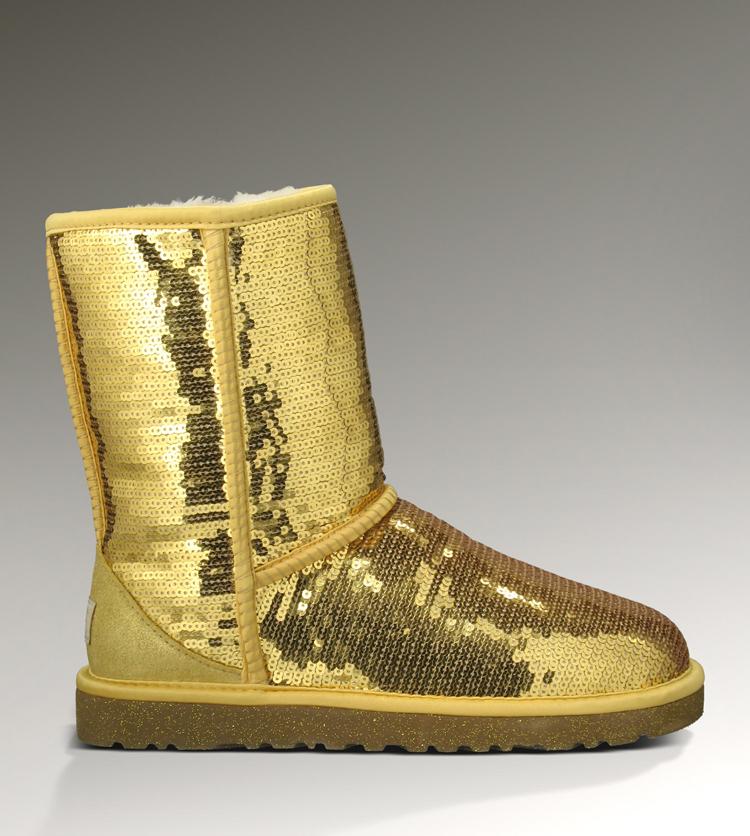 8352c3200f UGG Women Classic Short Sparkles 3161 Boots Gold [uggzm00000071-Gold ...