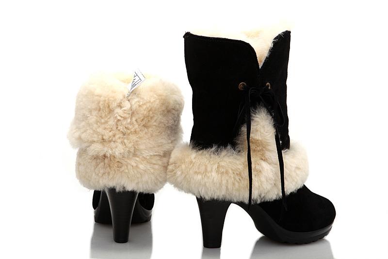 63a859487a3 UGG Fur Suede High-Heeled Boots 5108 Black [uggyi00000107-Black ...
