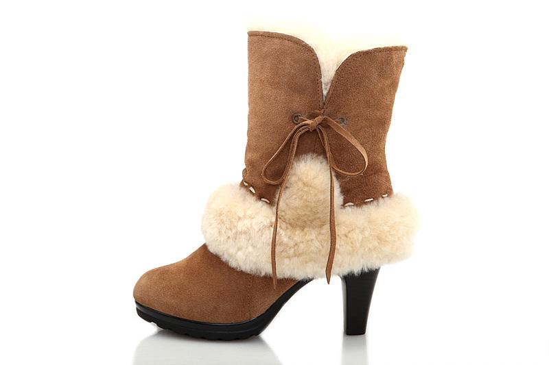 ugg fur suede high heeled boots 5108 chestnut