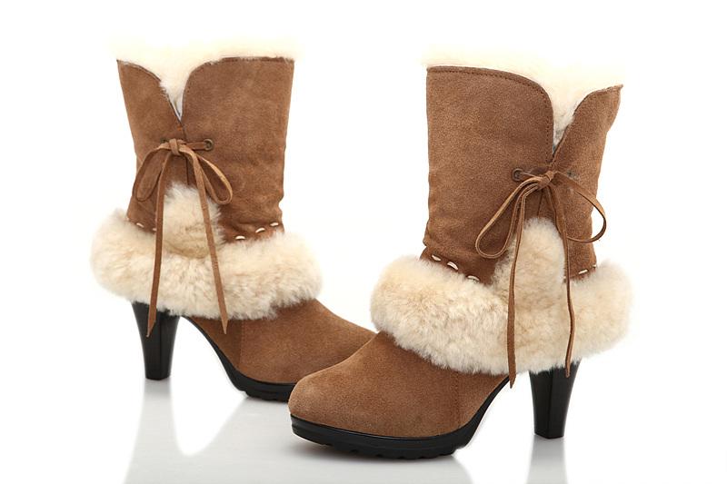 bfe400b21a0 UGG Fur Suede High-Heeled Boots 5108 Chestnut [uggyi00000107 ...