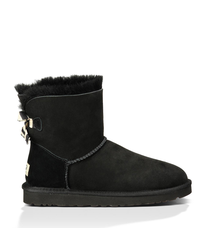49d062b14e7 UGG Mini Bailey Bow Stripe Boots 1005304 Black [uggzm00000049-Black ...